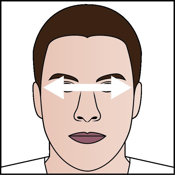 Ansikte med målområde över ögonen