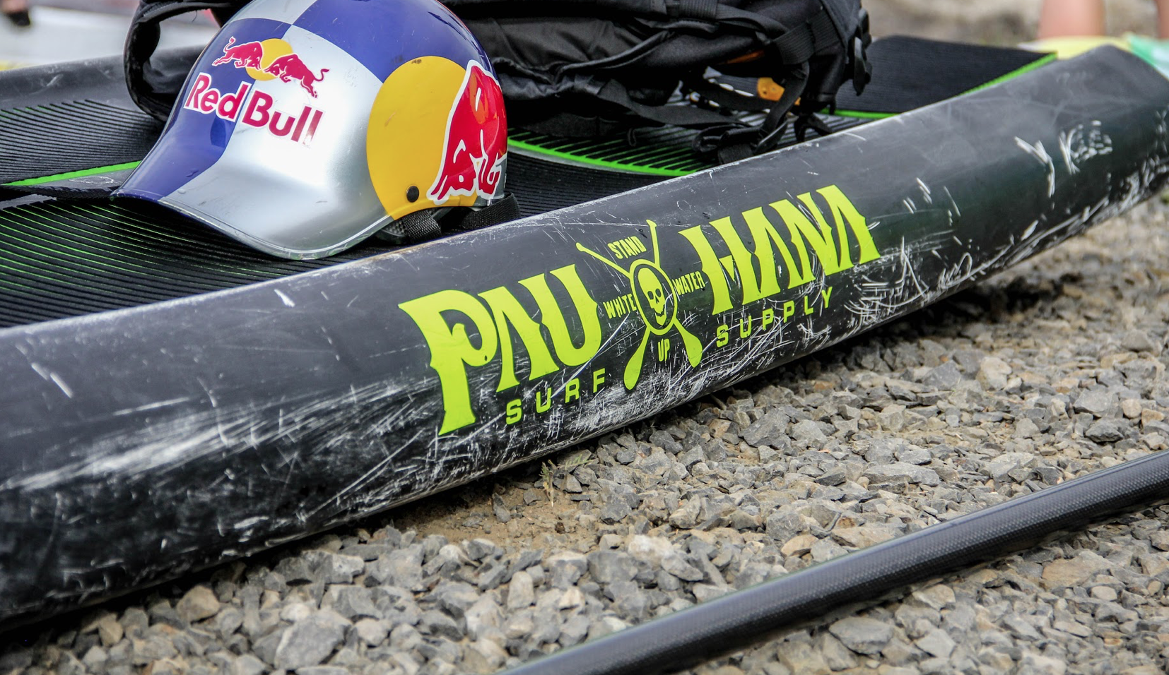 This is the best white water paddle board by Pau Hana.White water SUP racing ricochet technology Pau hana close up