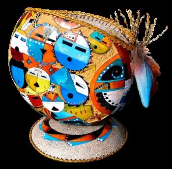 Gourd art by Gail Bishop
