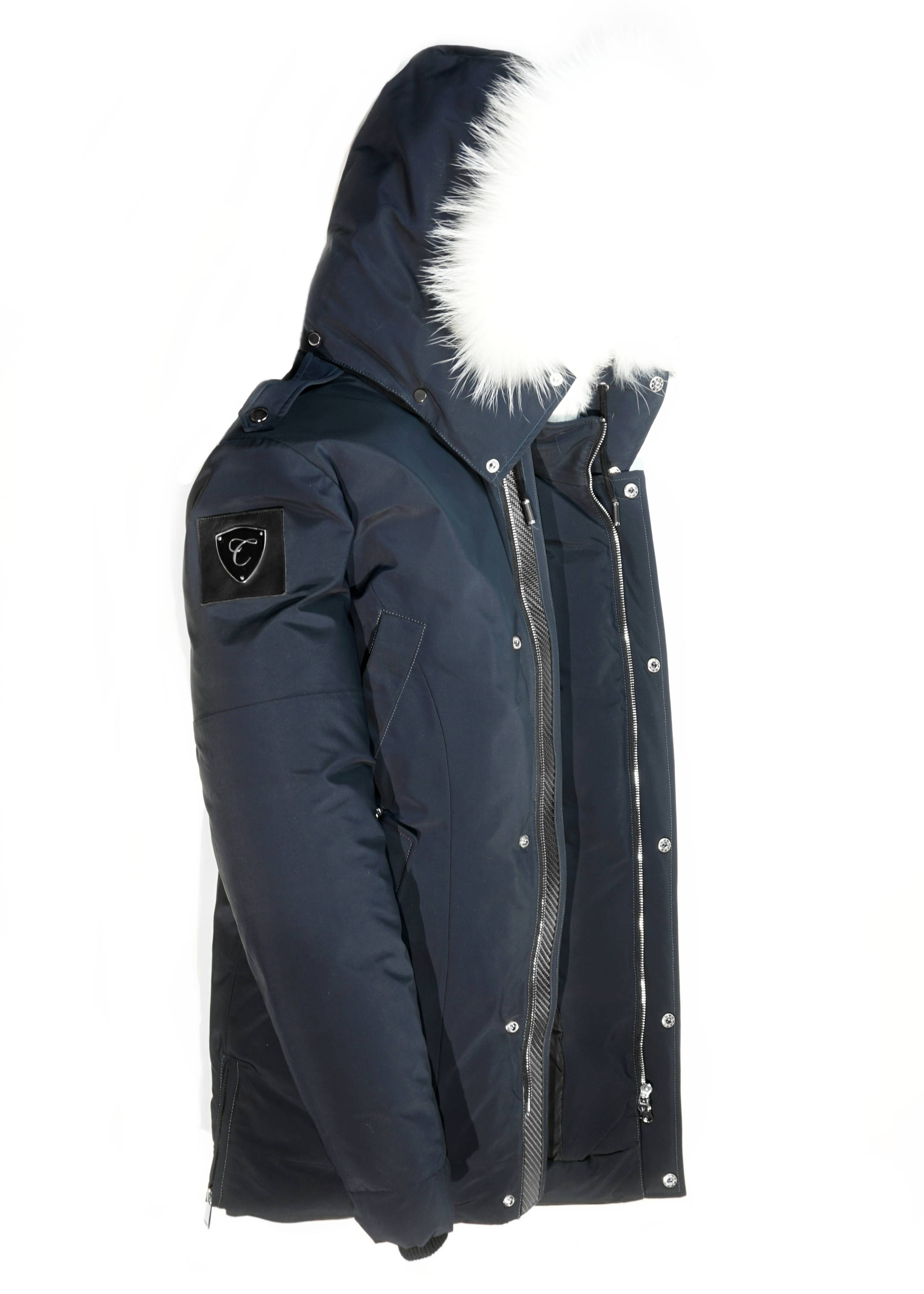 Carbonesque mens marine goose down parka