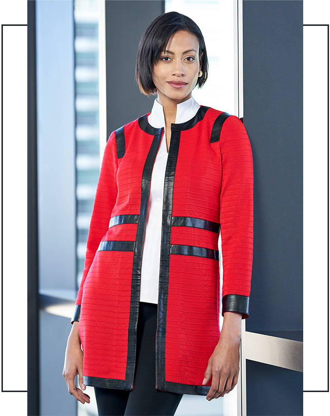 Faux Leather Trim Knit Jacket in the color Dusk Red