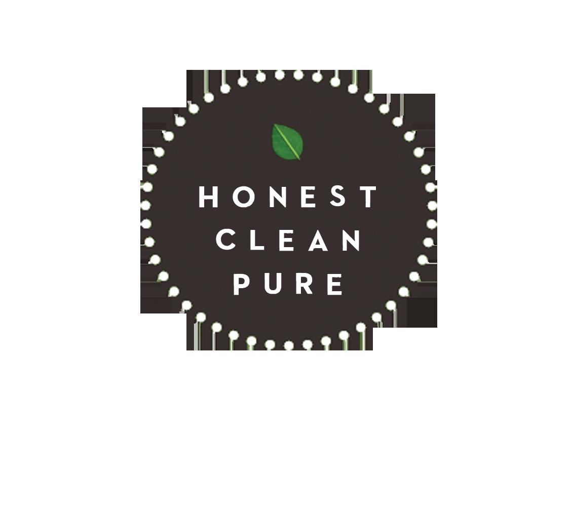 honest, clean, pure logo