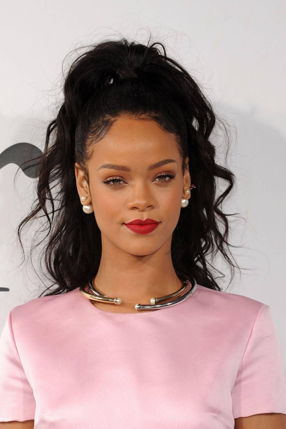 Rihanna with curly hair