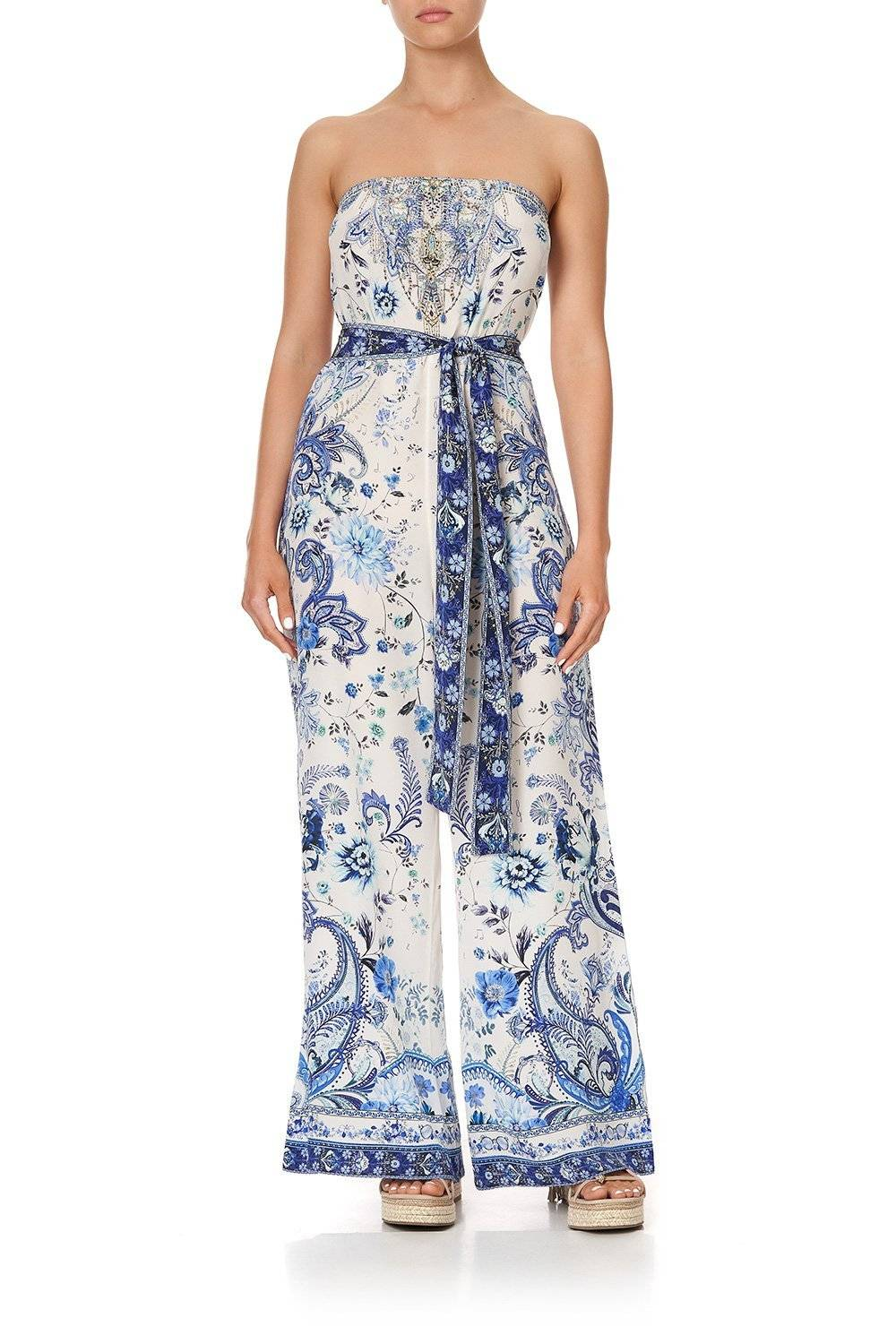CAMILLA white and blue floral strapless jumpsuit with tie belt