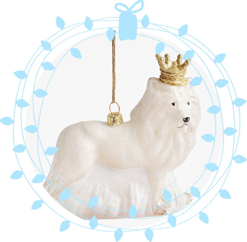 Crowned Lion frosted ornament
