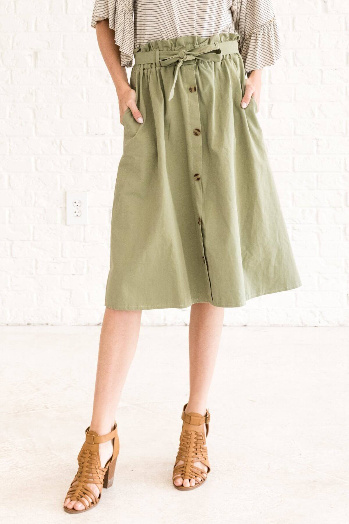 Bright Olive Green Paperbag Waist Midi Skirt with Button Up Front Business Casual for Women