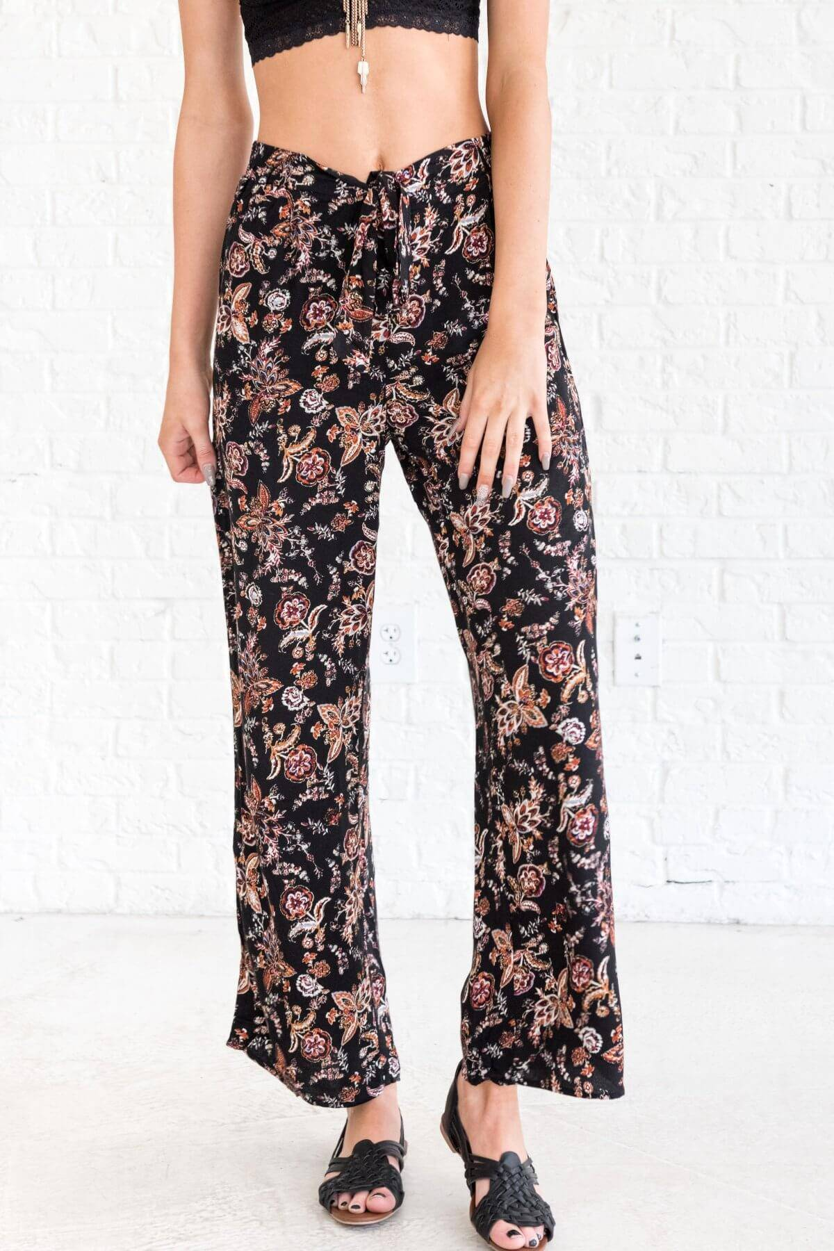 Black Rust Burgundy Purple Floral Flare Palazzo Pants