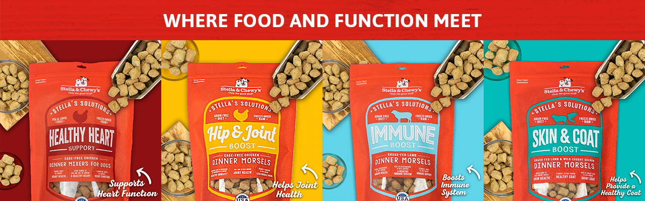stella's solution freeze-dried raw dog food banner