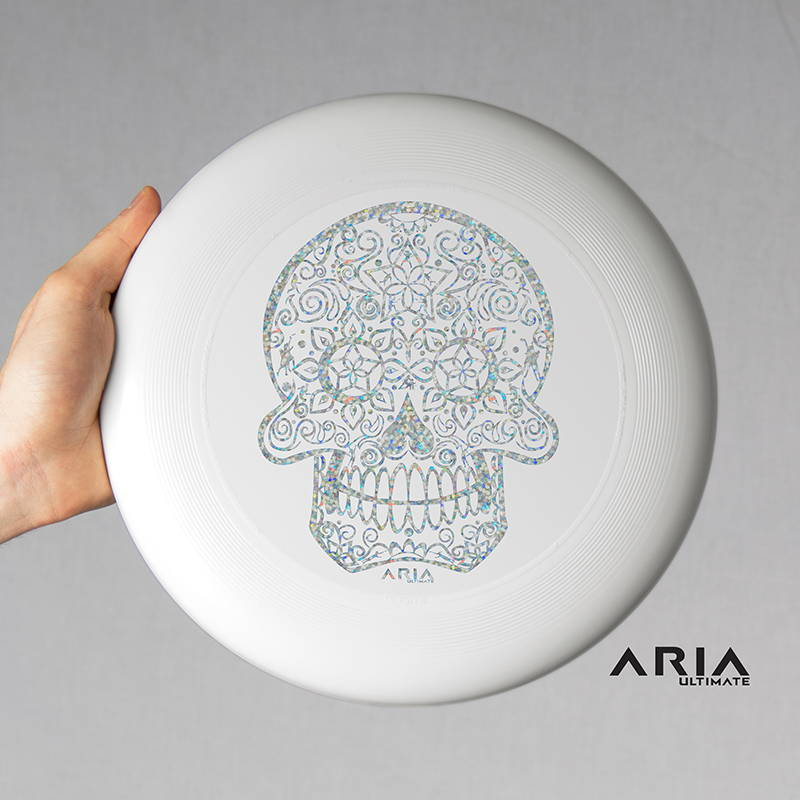 ARIA professional official ultimate flying disc for the sport commonly known as 'ultimate frisbee' disco sparkle skull design