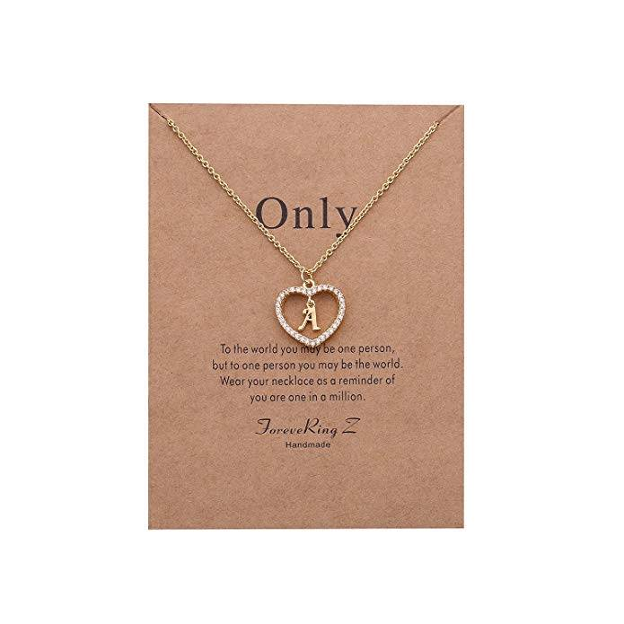 ForeveRing Z Letter Pendant Necklace A-Z Initial Necklace Message Card Necklace Woman Jewelry