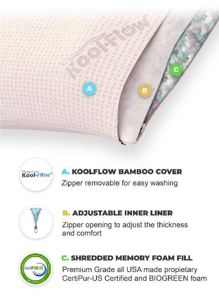 best bamboo pillow shredded memory