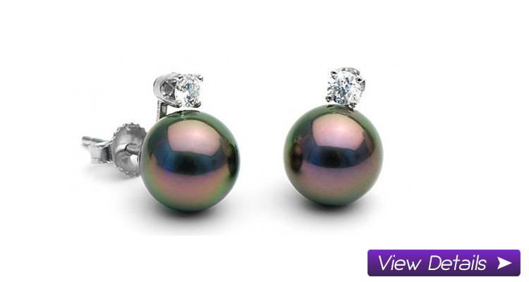Tahitian Diamond Stud Earrings