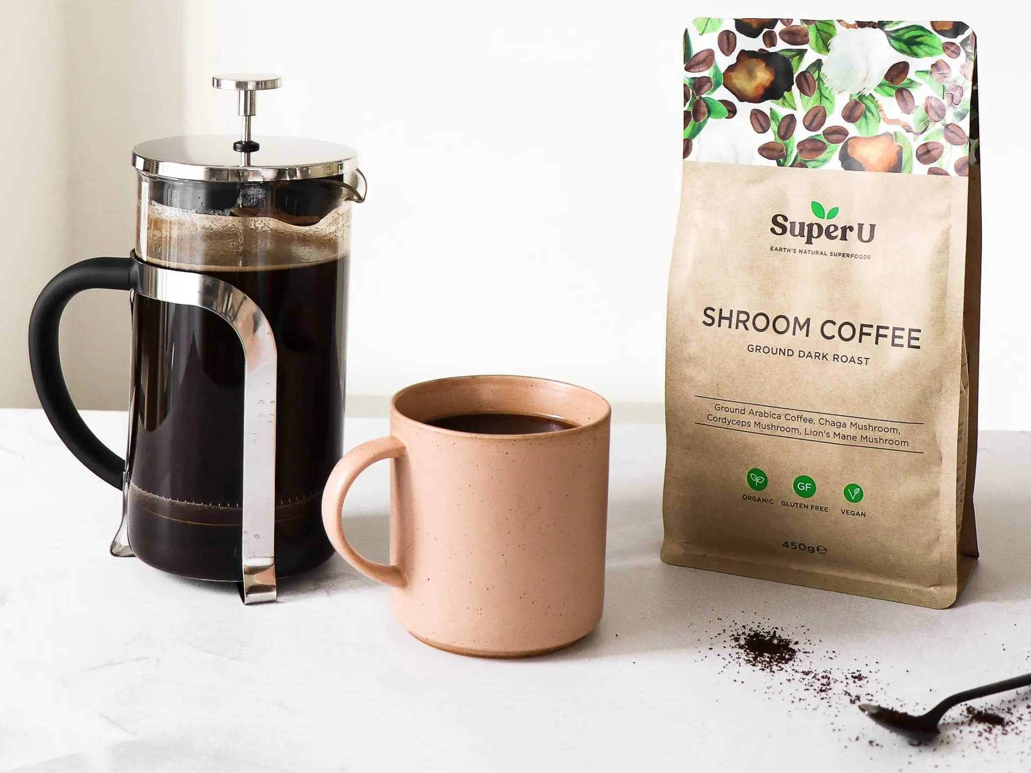 Ground mushroom coffee in a cafetiere
