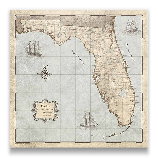 Florida Push pin travel map rustic vintage