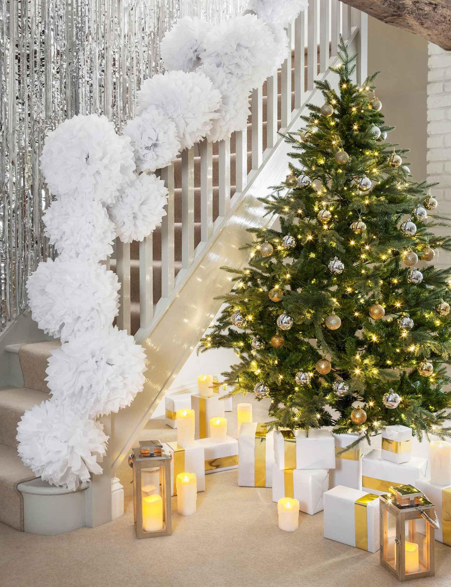 Weihnachtsdeko Für Geländer.Ideen Zur Weihnachtsbeleuchtung Im Eingangsbereich Lights4fun De