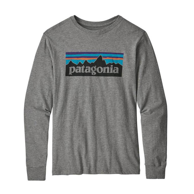 patagonia(パタゴニア)/ロングスリーブ グラフィック オーガニック Tシャツ/グレー/BOYS