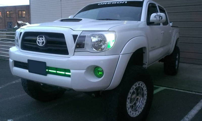 Toyota Tacoma Green Lamin-x fog light film coveres