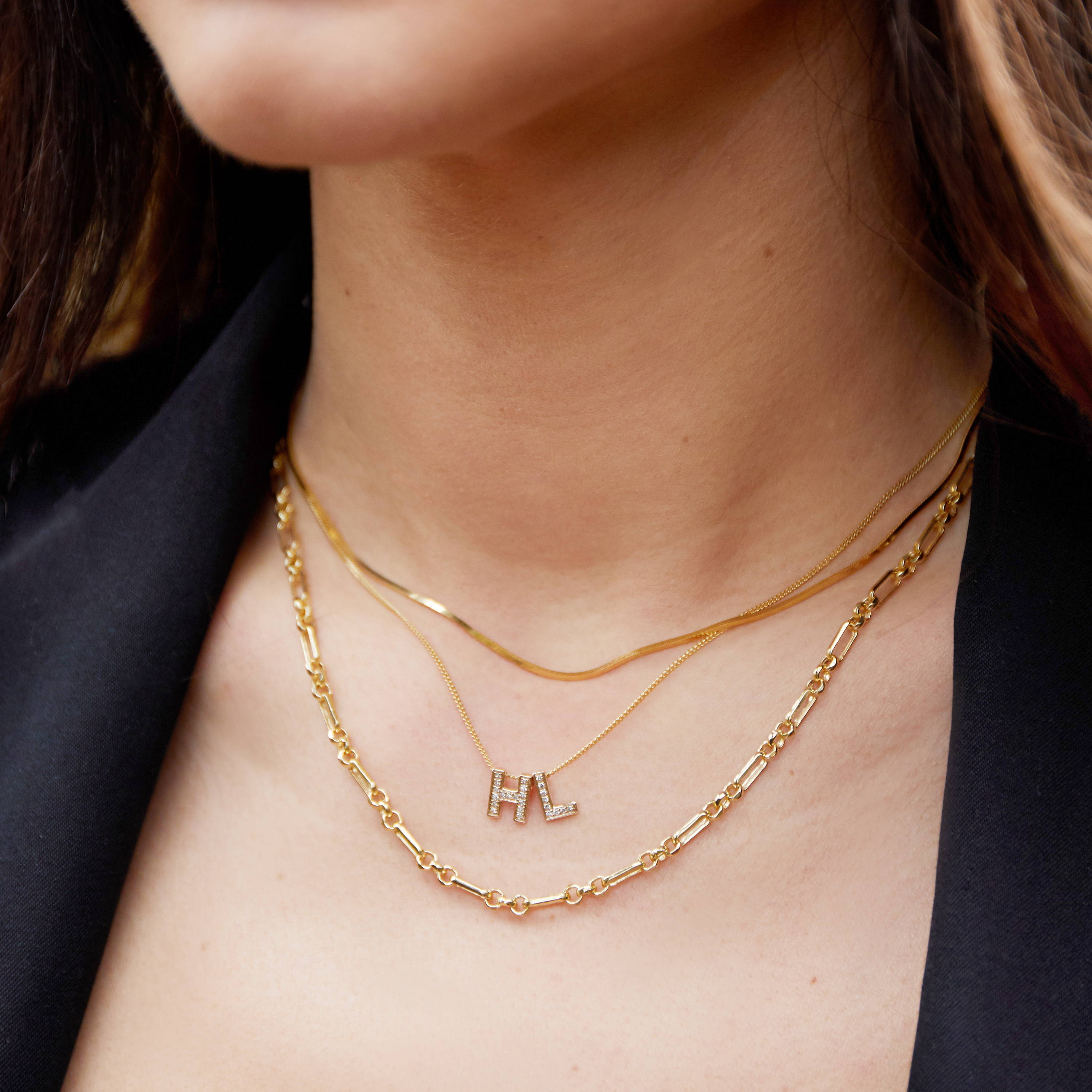 9ct Yellow Gold Diamond Initial  Necklace