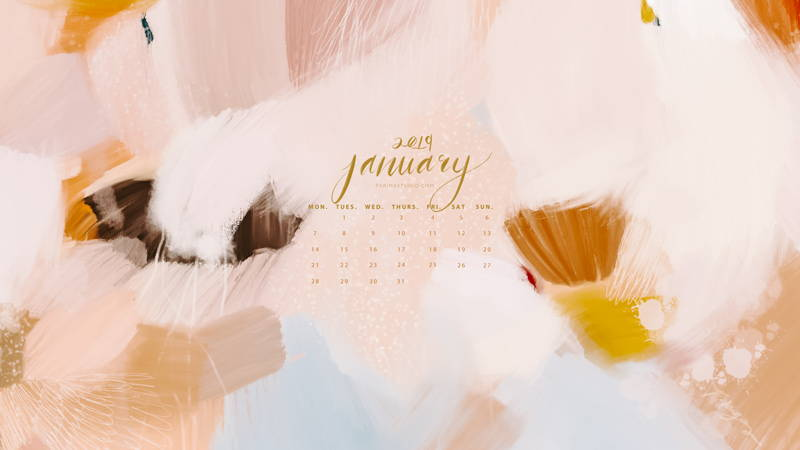 Free calendar and wallpaper download featuring original abstract art by Parima Studio