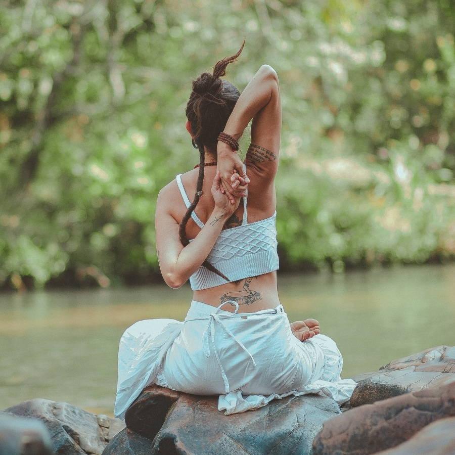 spiritual woman stretching