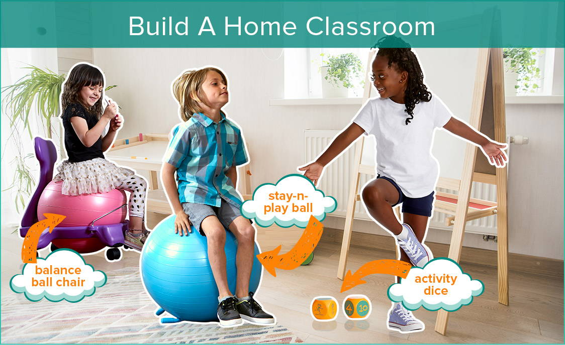 Kids using flexible seating in home classroom