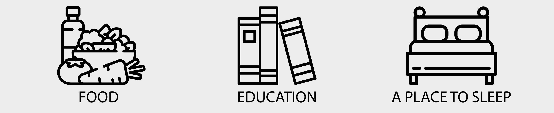 Food, education, a place to sleep.