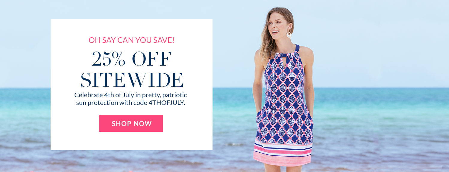 25% off sitewide with code 4THOFJULY-Woman on the beach wearing Navy Geo Sleeveless Shift Dress