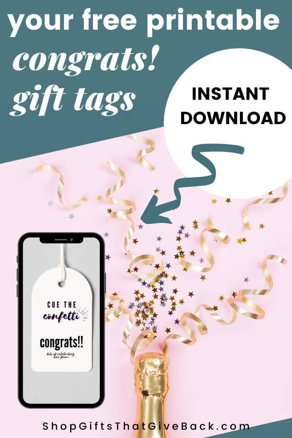 congrats free printable gift tags
