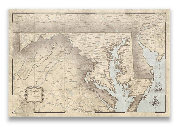 Maryland Push pin travel map rustic vintage