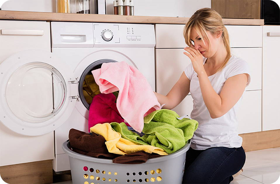 Lingering laundry odor is a common problem that One Wash Miracle can solve.