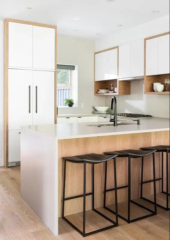 A kitchen island  support made with Shanghai Sunrise hardwood flooring