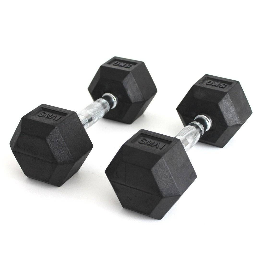 SMAI Rubber Hex Dumbbell Rubber sold as a pair