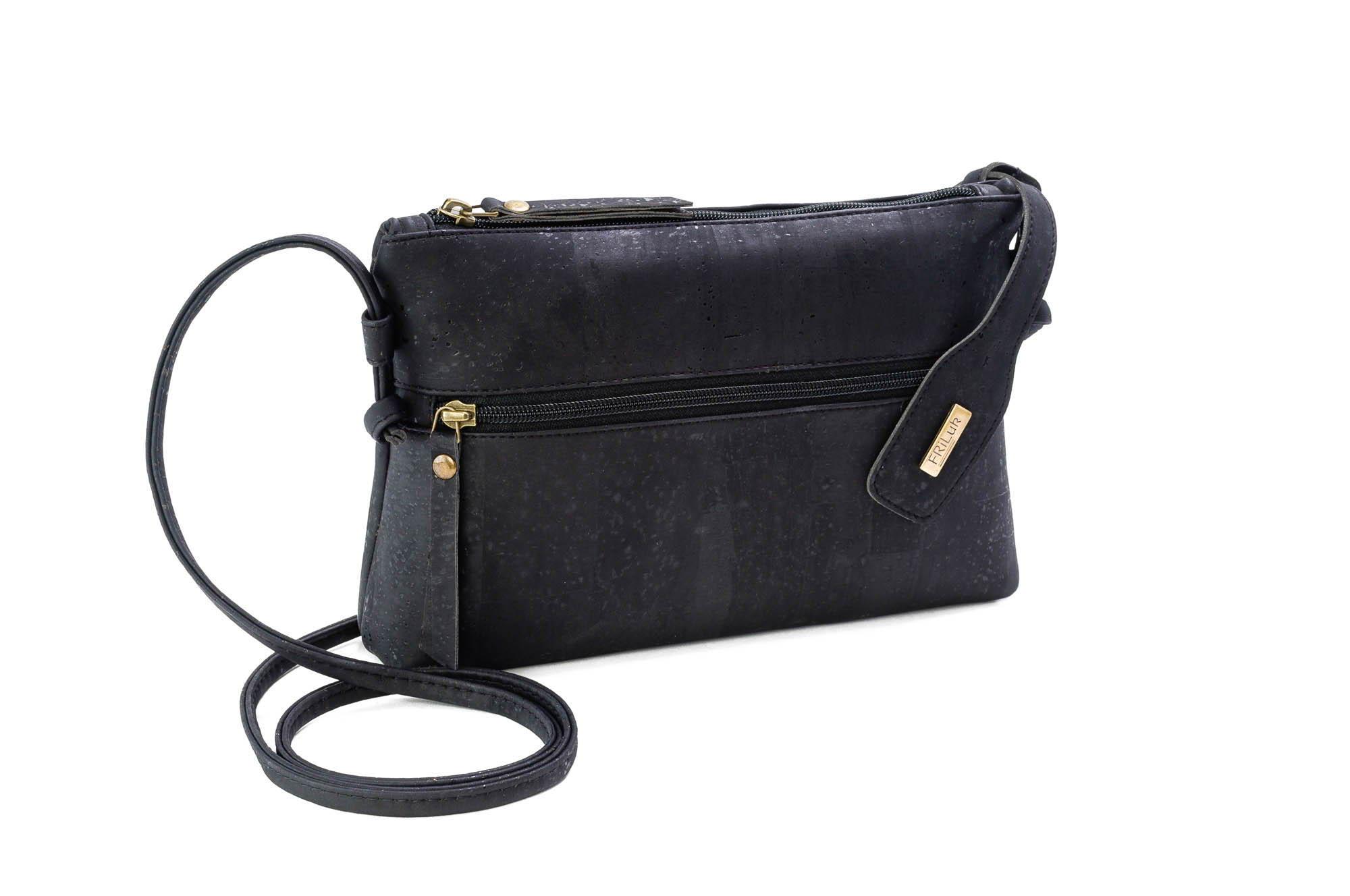 black cork crossbody purse