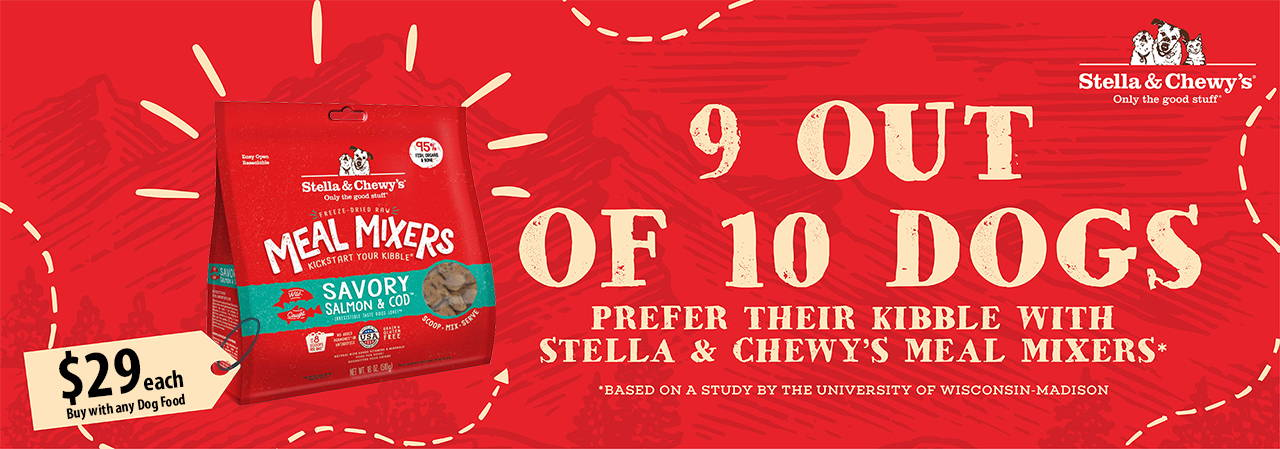 Stella & Chewy's freeze dried raw meal mixers 18oz pawpy kisses exclusive promotion
