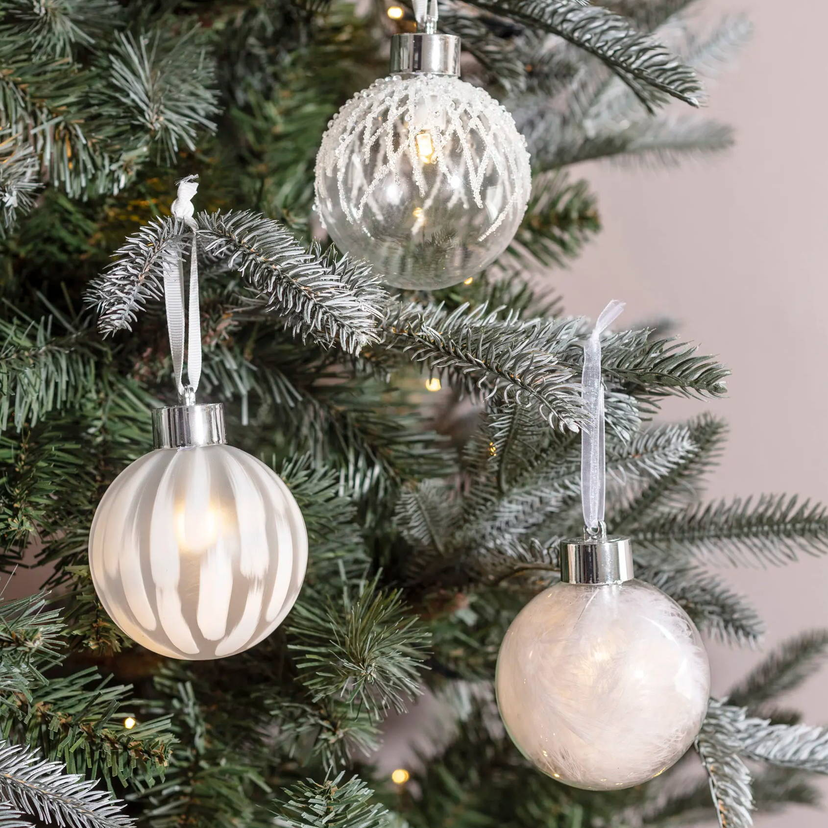 Winter Lake LED Christmas Bauble Trio featuring white feathers, beads and paint
