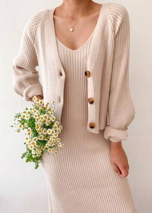 Pair your cardigan with a monochromatic matching set.