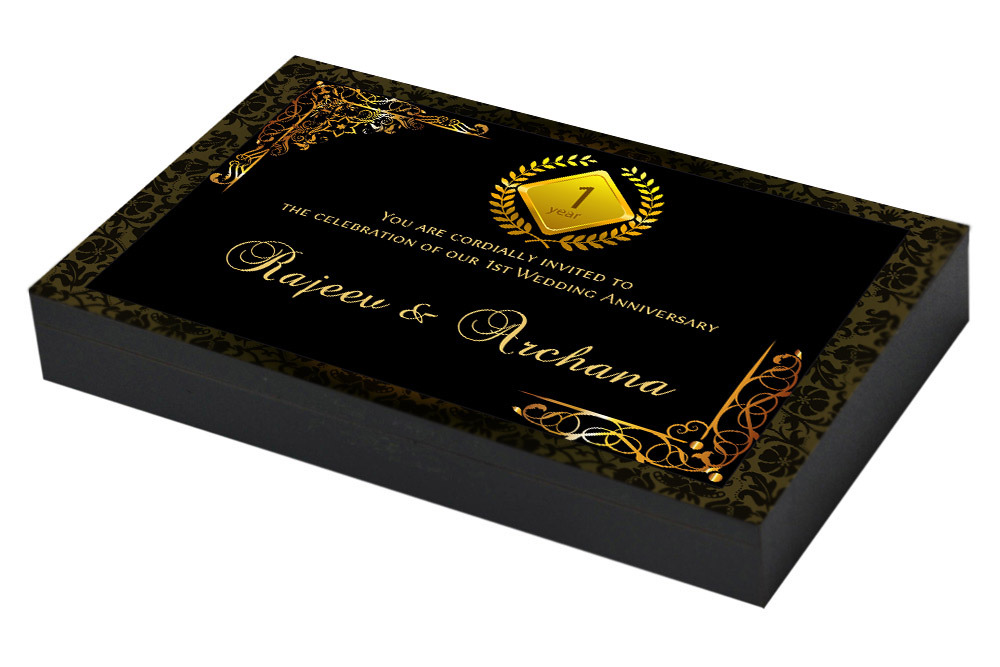 Golden Monogram Invitation for 1st Anniversary