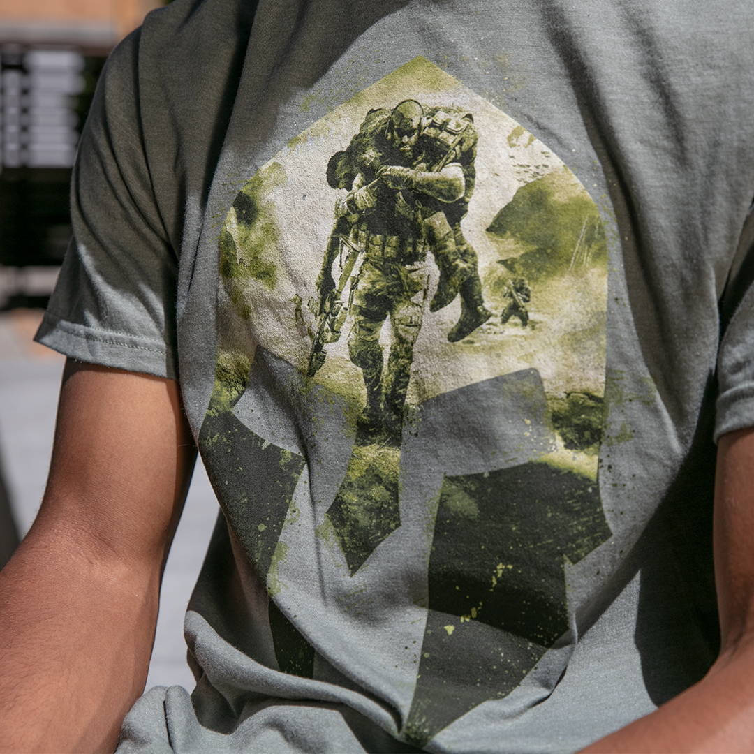 Photo of a model wearing a Ghost Recon Spartan Premium Tee