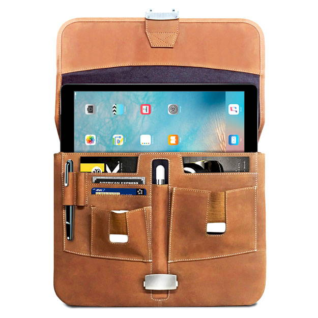 open view of the mac case leather briefcase for the 12.9 iPad pro