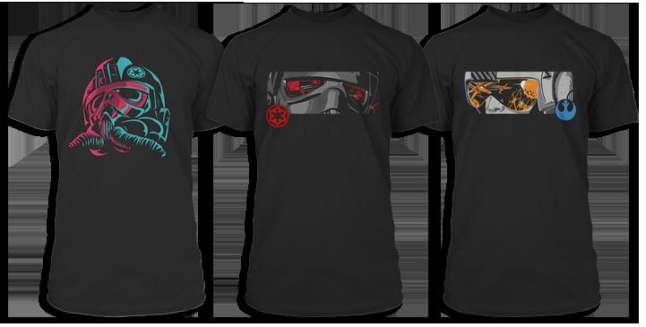 Three Star Wars Squadrons tees
