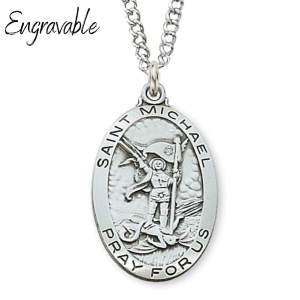 St. Michael Oval Sterling Silver Pendant