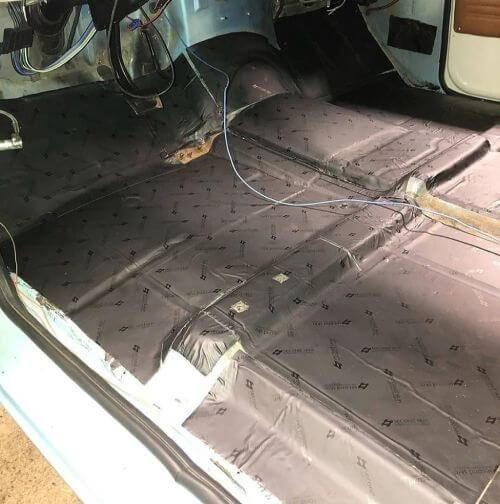 Damplifier Pro sound deadening mat applied to the car floor