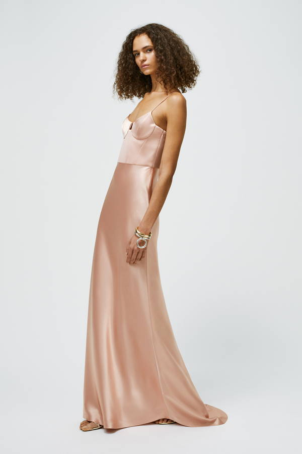 Galvan London Glossy Satin Bustier Pink Gown