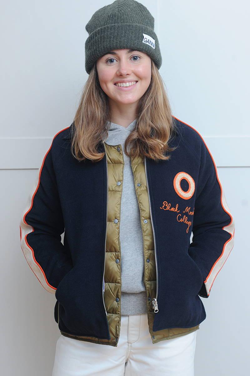 Lara wearing Bellerose Jacket