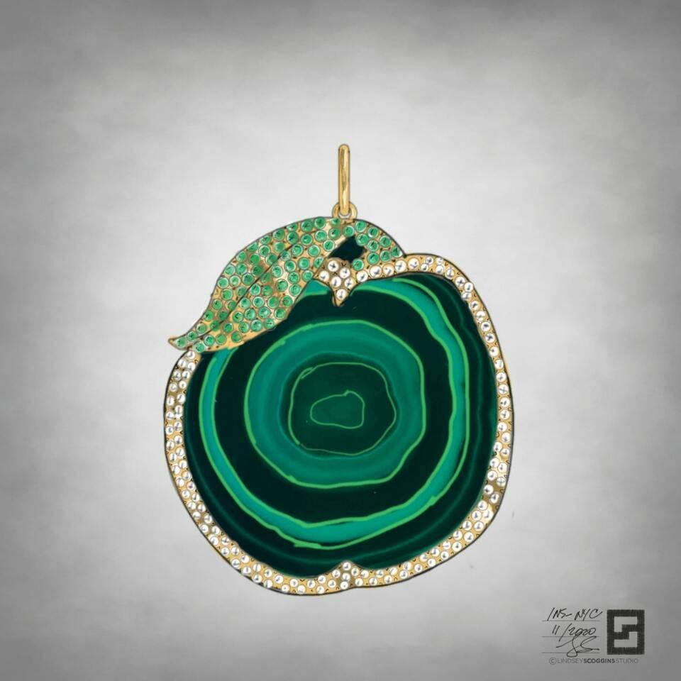 malachite apple medallion