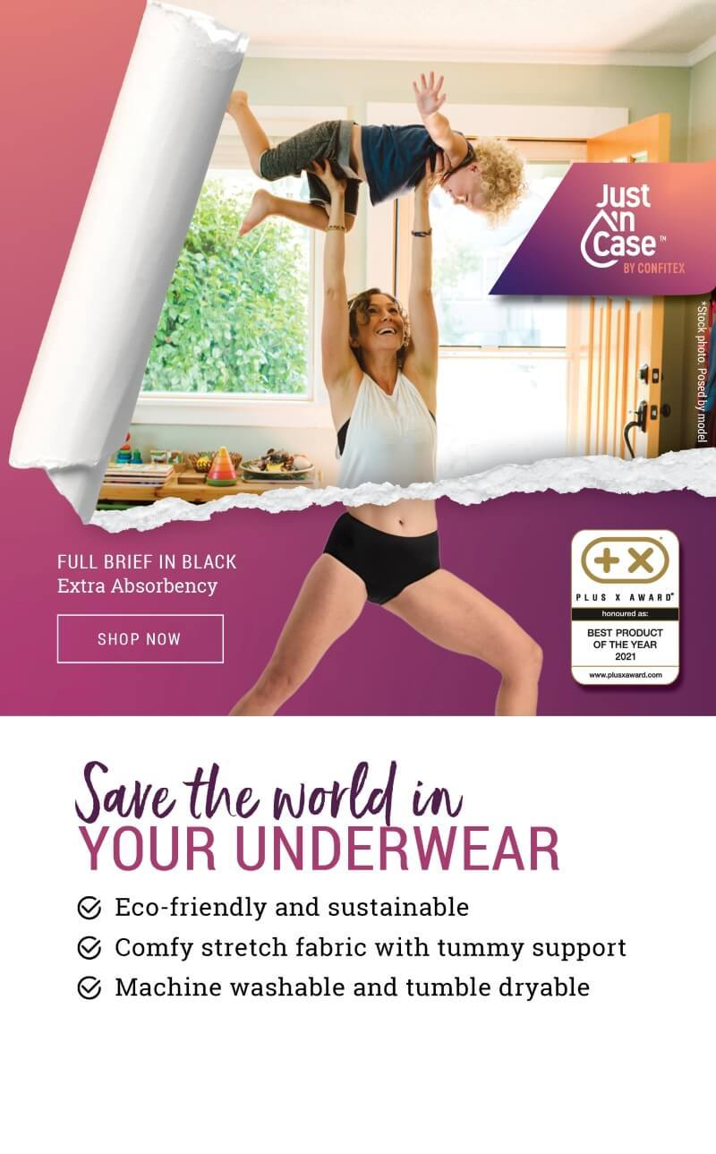 Supermum wearing Just'nCase period-proof underwear