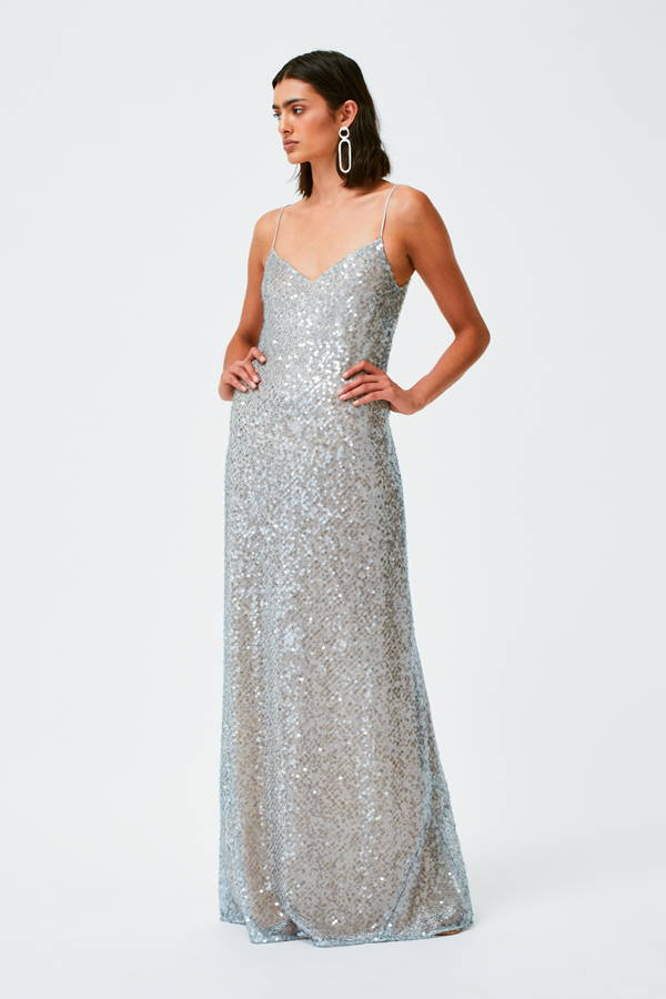Galvan London Sequin Spaghetti Strap Silver Dress