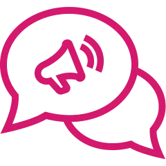 Pink and white speech bubbles with a megaphone