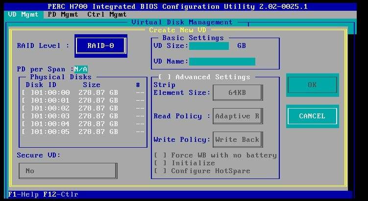 configuring a new virtual disk on the perc h700 raid controller