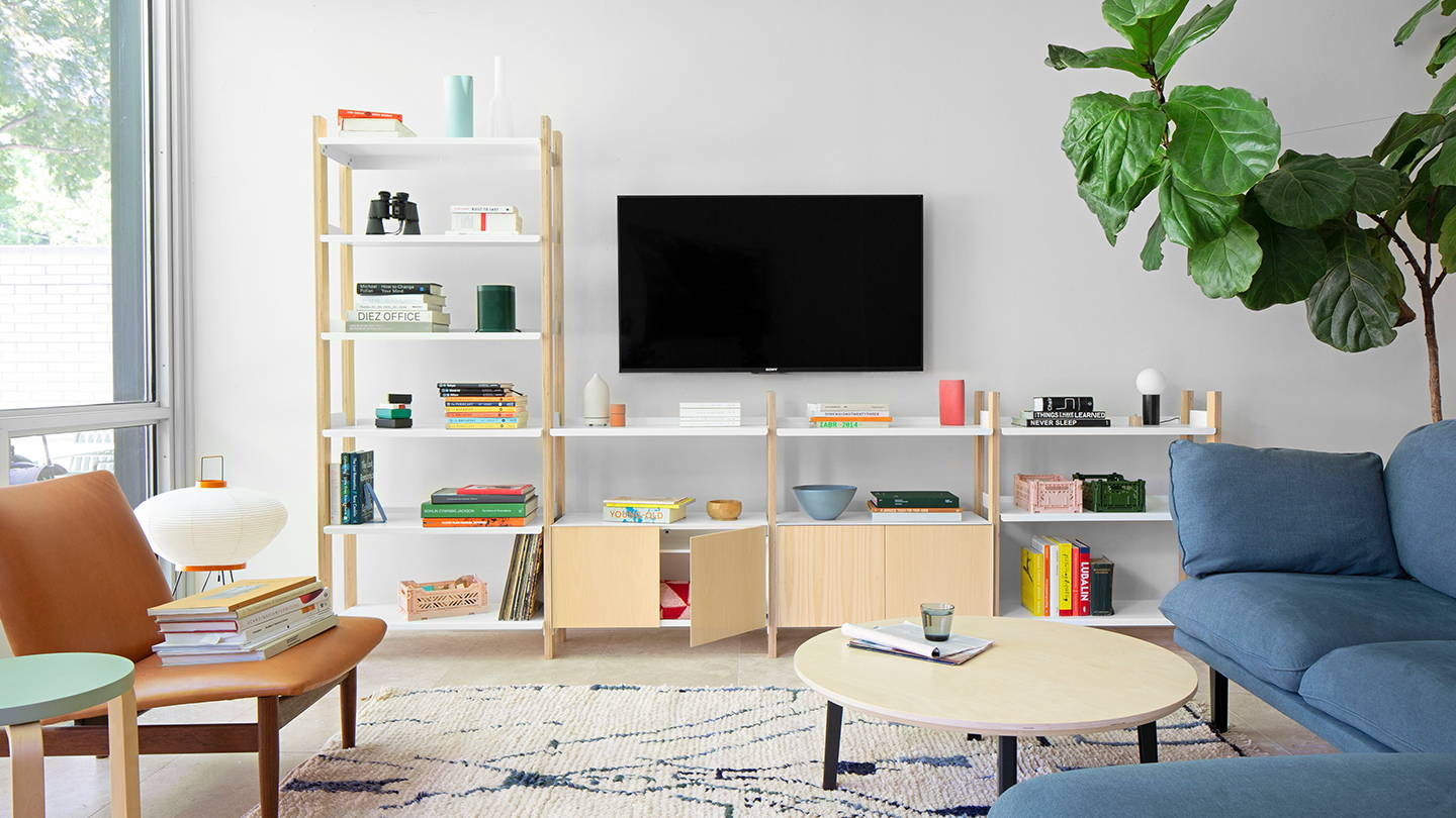 A beautifully styled Floyd Shelving System in ash/white